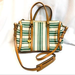 Fossil leather and canvas stripe cross body purse
